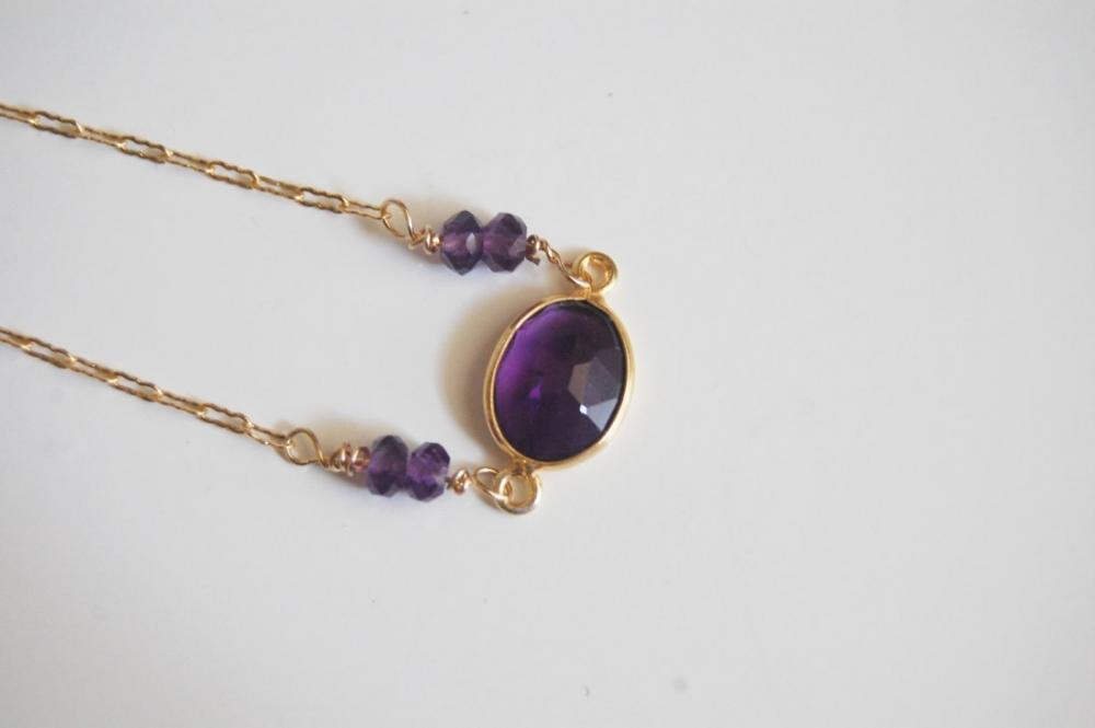 Dark Purple Amethyst bezel setting necklace
