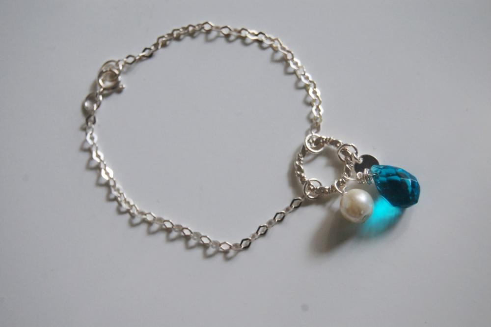 London blue quartz , Pearl and charm Bracelet