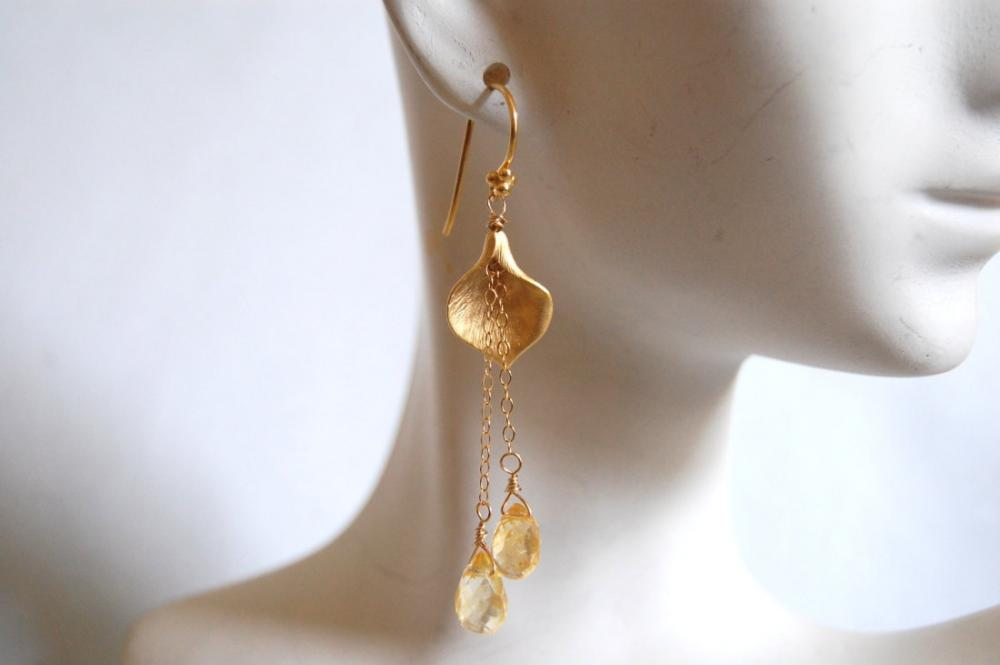 Citrine and Calla lily connector long drop earrings