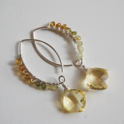 Beautiful lemon quartz and rare shaded Grossular Garnet earrings.