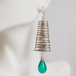 Emerald Green Quartz and Ladder connector Dangle Earrings