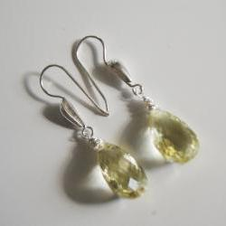 Gorgeous Lemon quartz dangle earrings with sterling silver