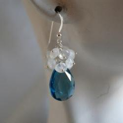 London blue quartz and moonstone dangle earrings