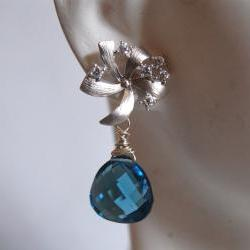 Beautiful London blue quartz and flower with cubic zirconia earrings