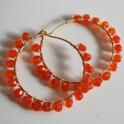 Orange Carnelian Gold filled Hoop Earrings