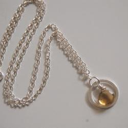 Bear Quartz Necklace with Sterling silver chain