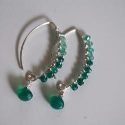 Green Onyx long drop earrings