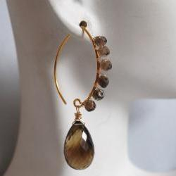 Beautiful bi-color Smoky quartz and vermeil earrings