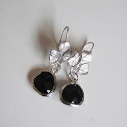 Bezel setting Glass Black drop dangle earrings