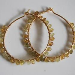 Rare shaded Grossular garnet Gold filled Hoop Earrings